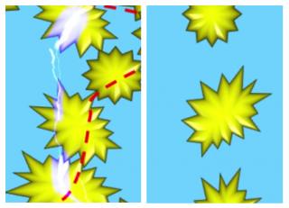 온도가 낮을 때는 니켈 입자가 서로 뭉쳐 있어 전류가 흐를 수 있지만(왼쪽), 온도가 높아져 폴리에틸렌 필름이 부풀면 서로 간격이 떨어지면서 전류가 흐를 수 없게 된다(오른쪽). - 제난 바오 교수 제공